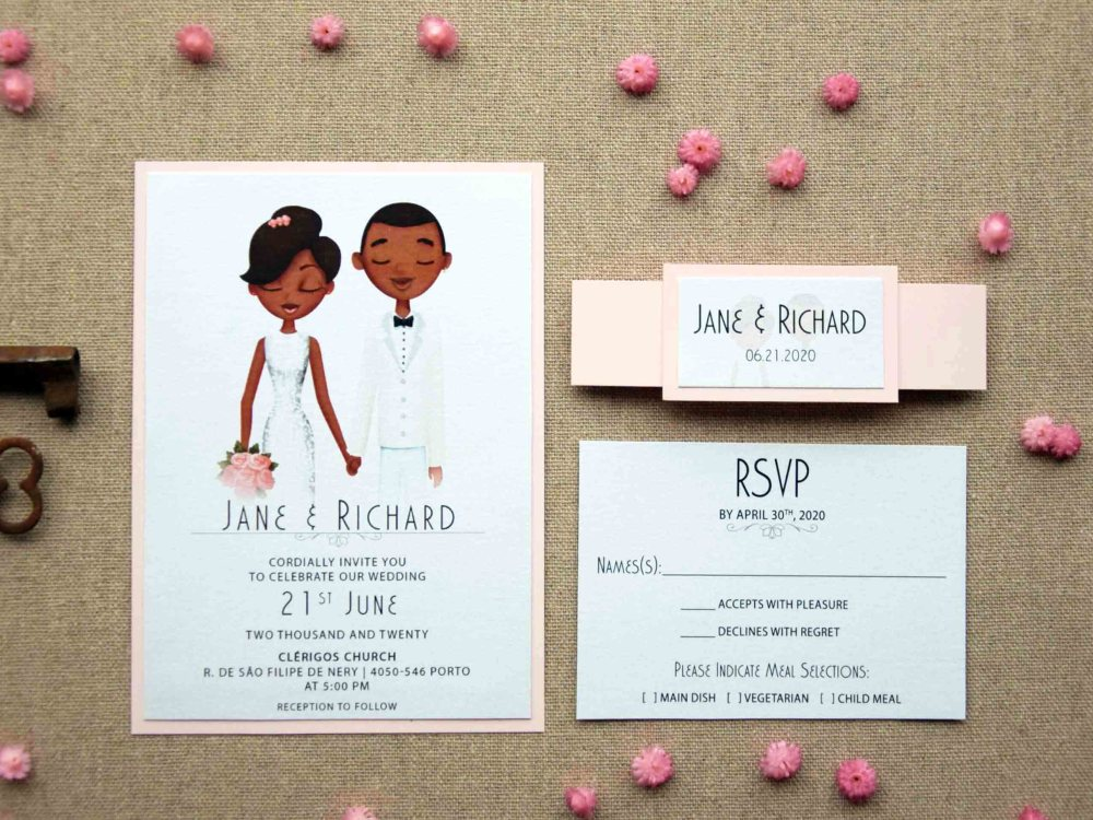 Petal Portrait Wedding Invitations