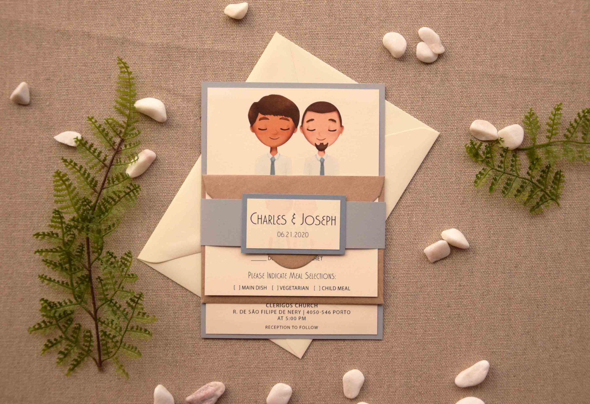 Ivory Portrait Wedding Invitations
