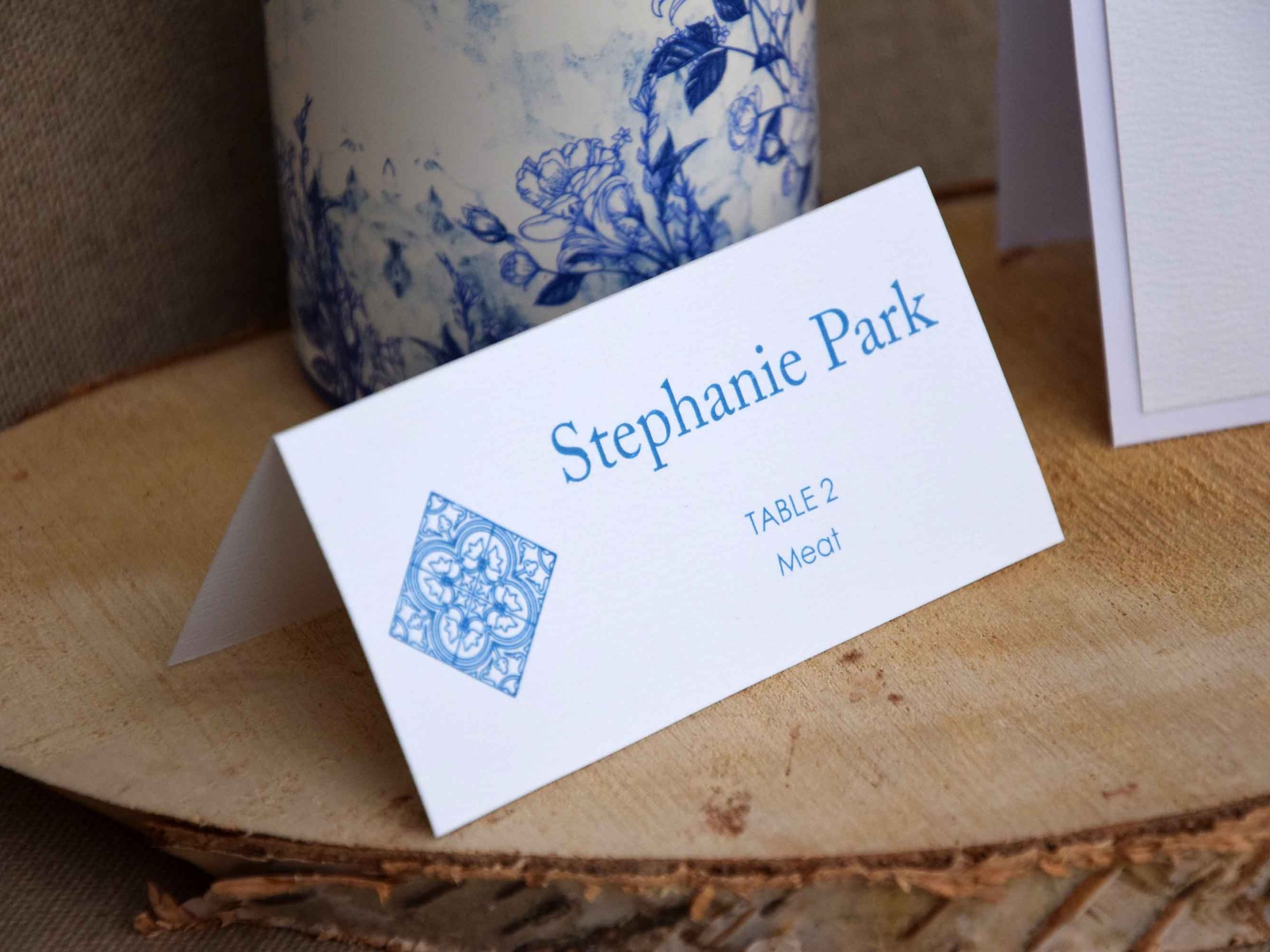 Simple Blue Tile Place Cards