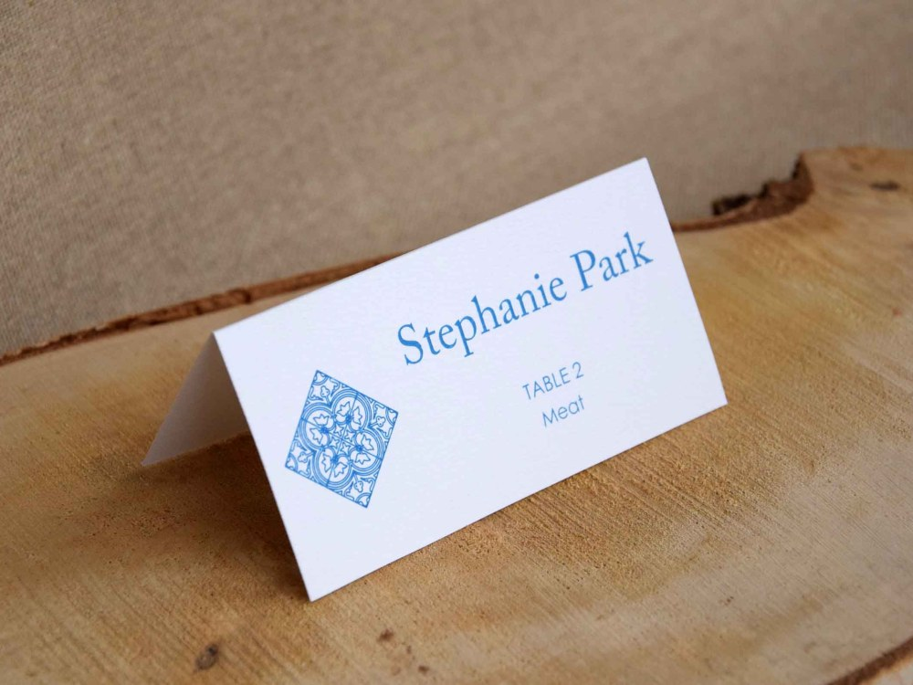 Simple Blue Tile Place Cards