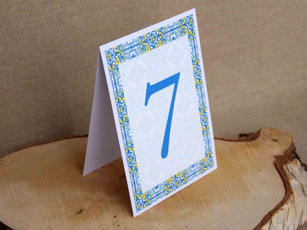 Blue and Yellow Tile Table Numbers