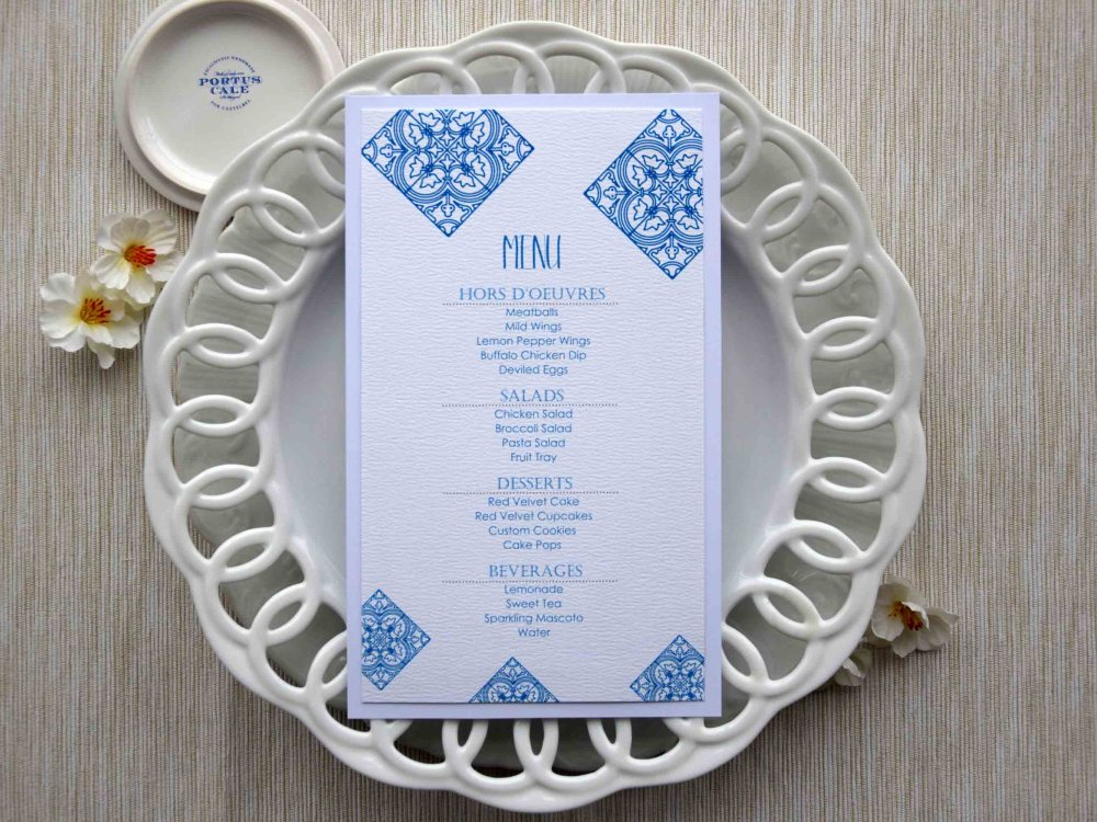 Blue Tile Wedding Dinner Menus