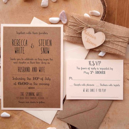 Rustic Wedding Invitation With Wood Heart