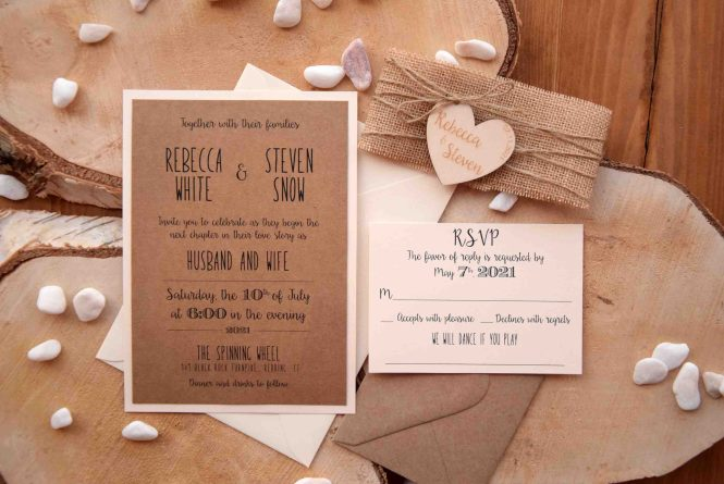 Rustic Wedding Invitation With Wood