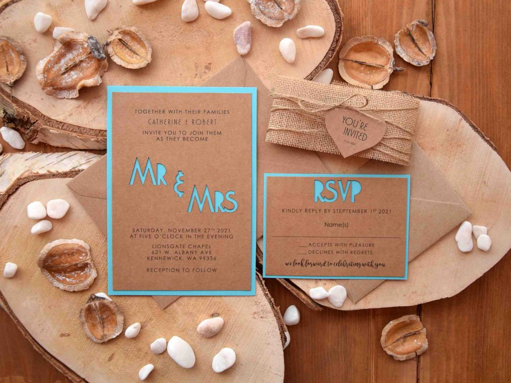 Turquoise Laser Cut Invitations