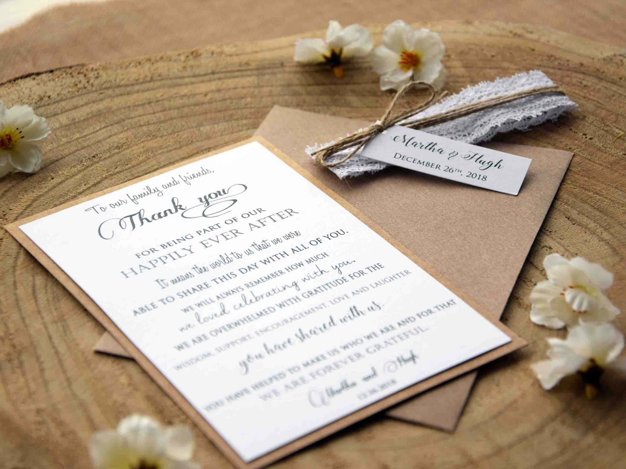 White Lace Thank You Cards