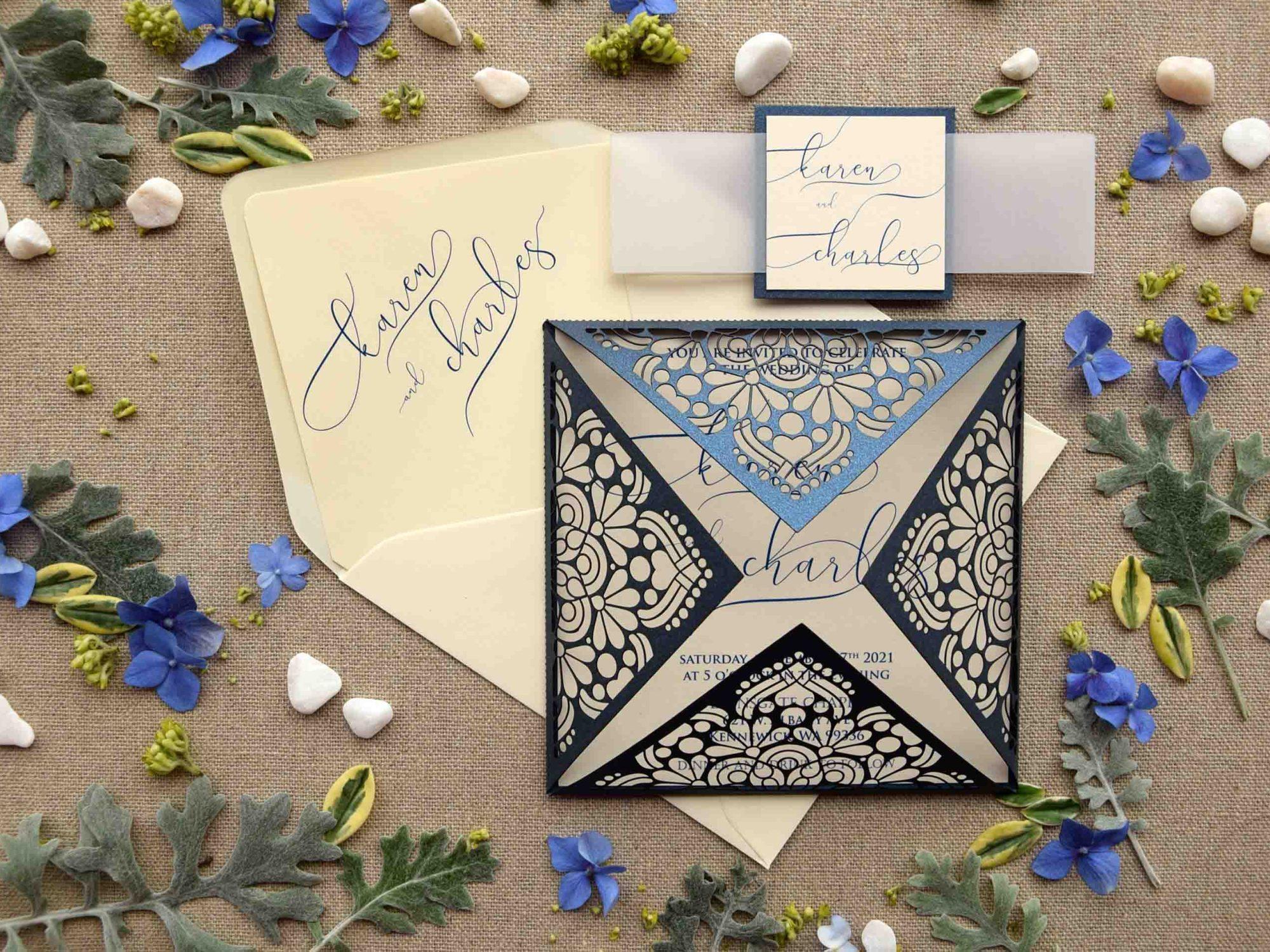 Navy Blue Laser Cut Wedding Invitations