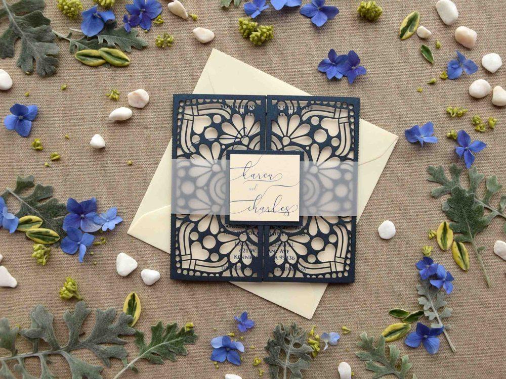 Navy Blue Pocketfold Wedding Invitations