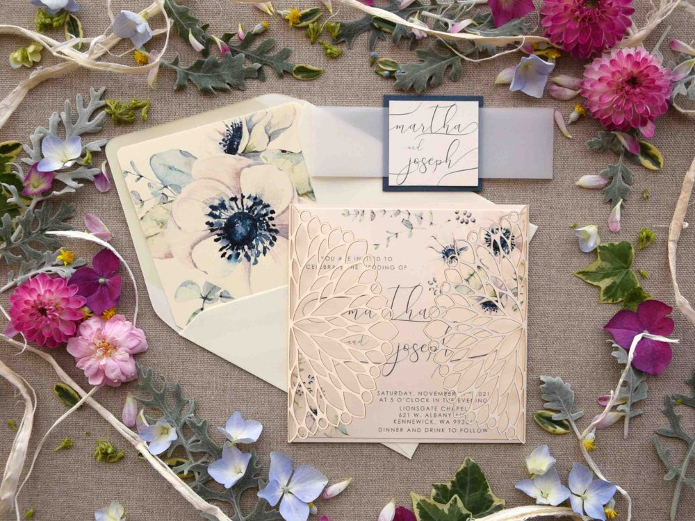 Caligraphy Laser Cut Invitations