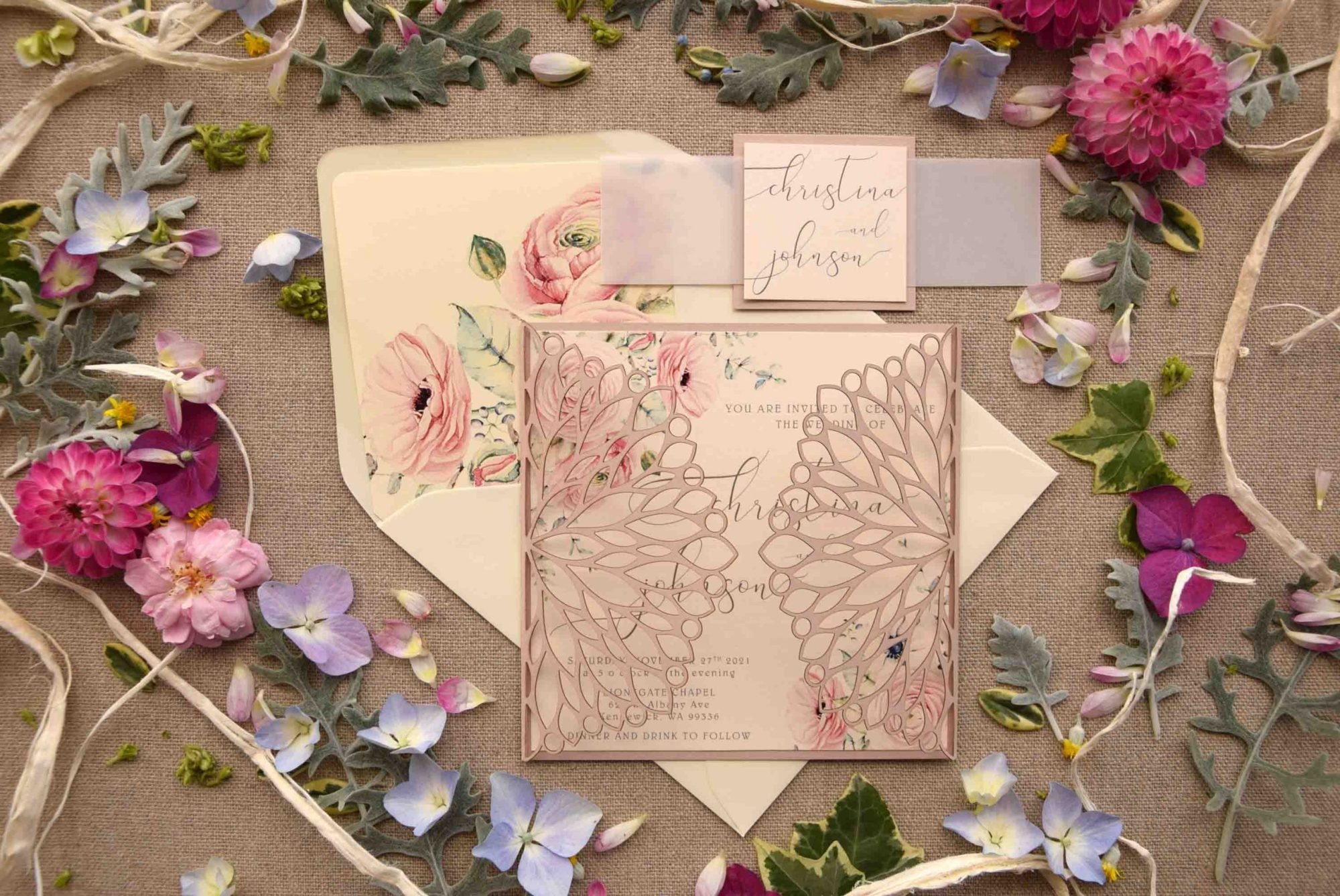 Floral Caligraphy Laser Cut Invitations