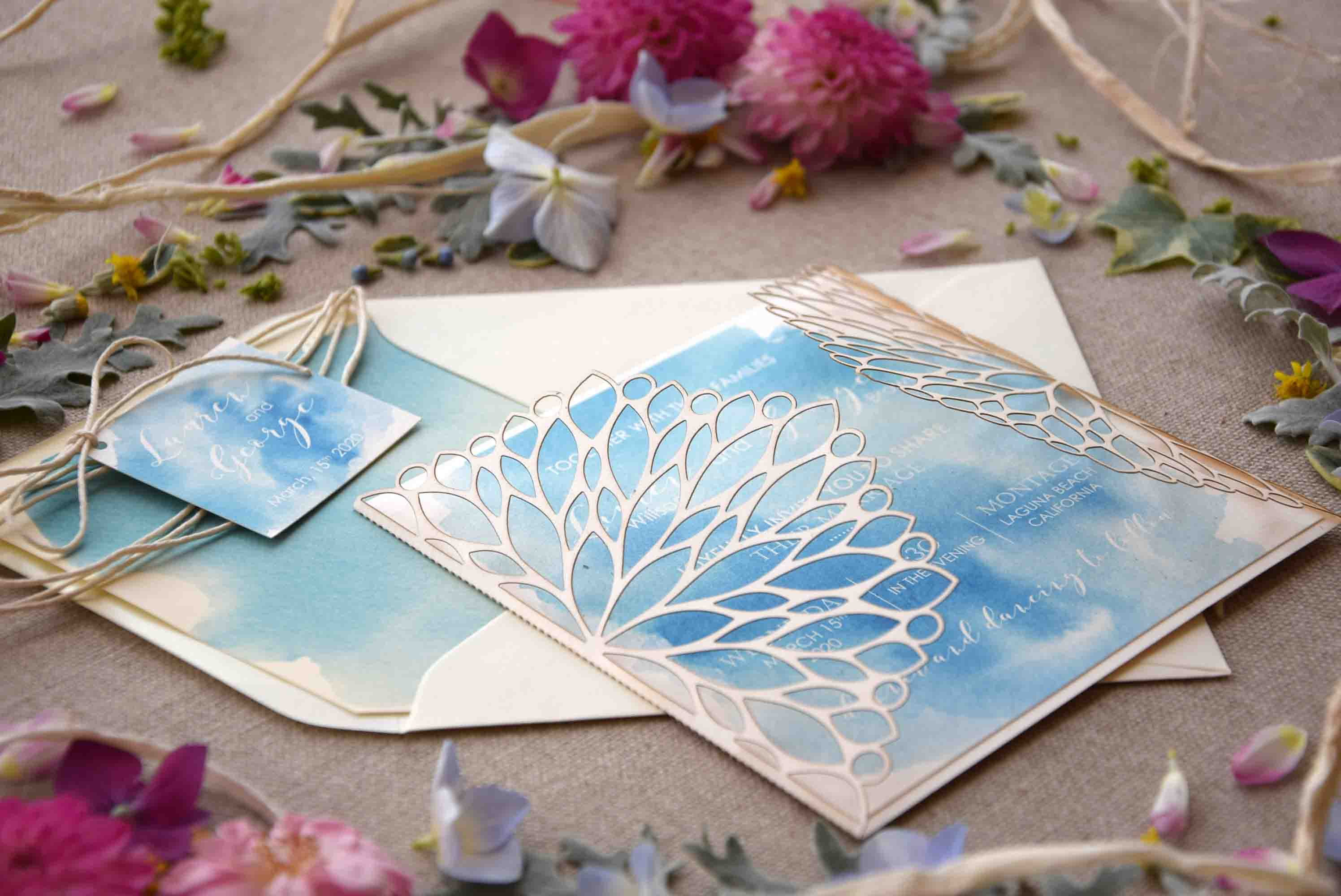 Beach Laser Cut Wedding Invitations