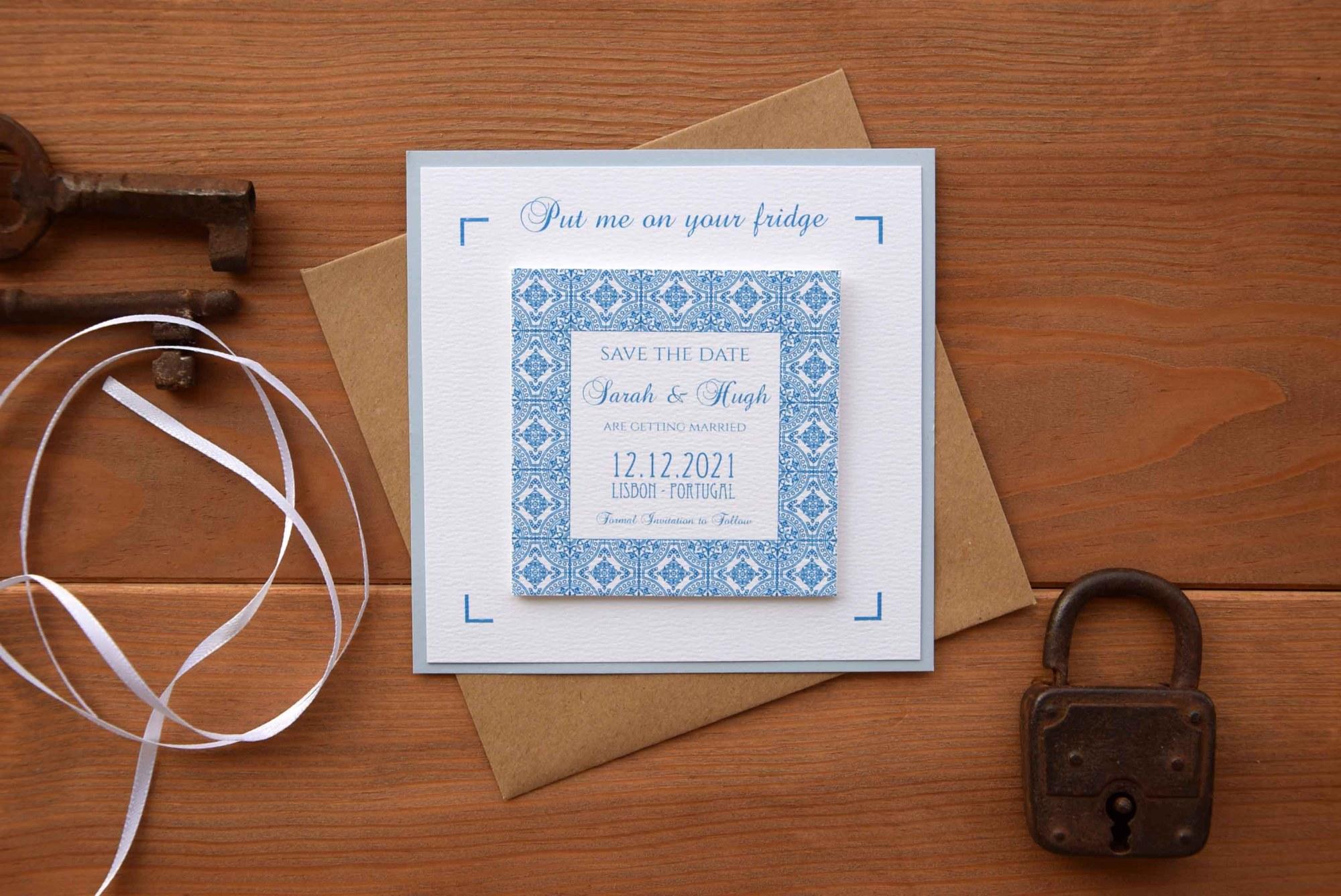 Blue Tile Magnet Save The Dates