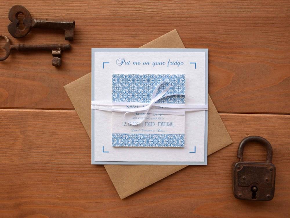 Blue Tile Wedding Save The Dates