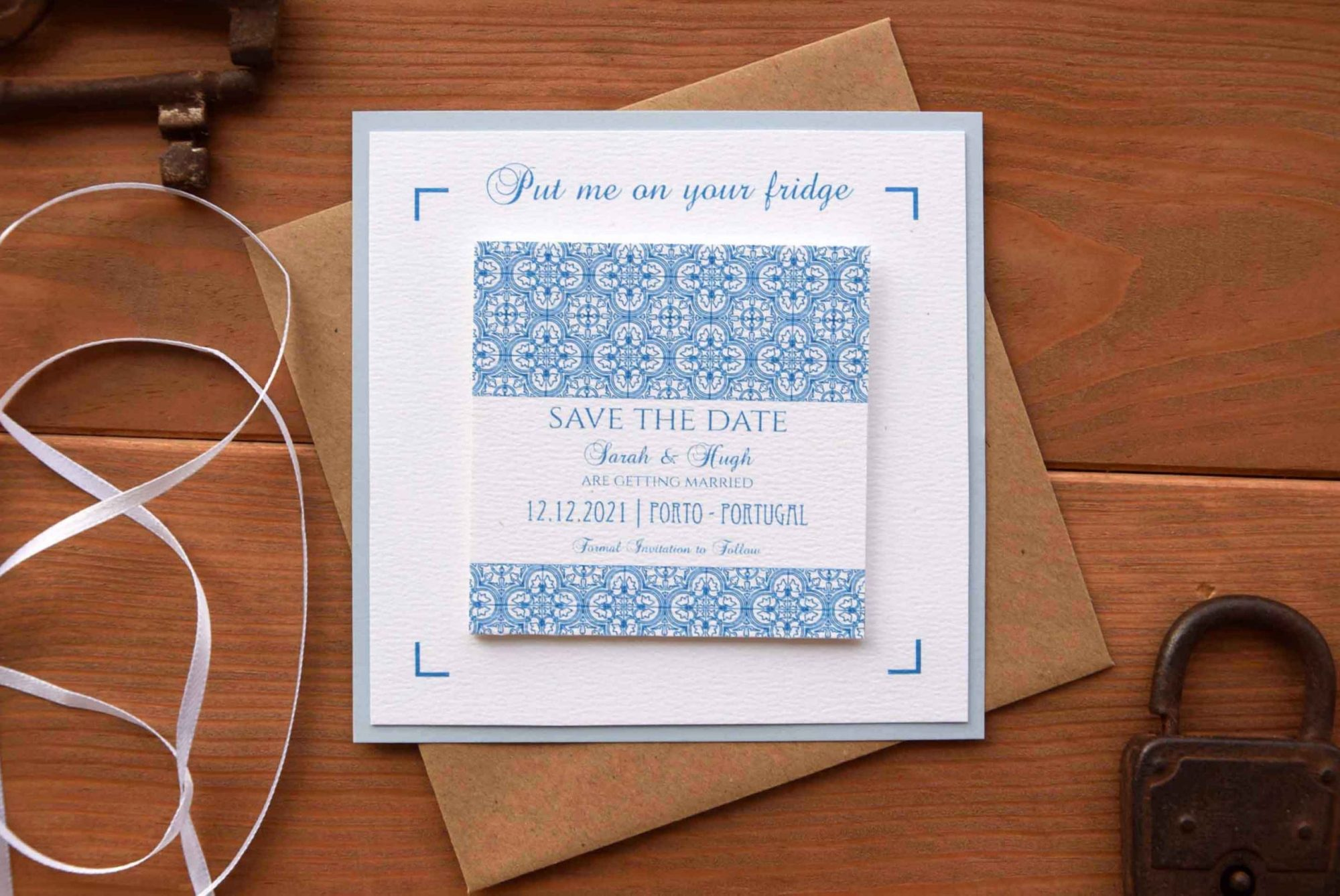Blue Tile Wedding Save The Dates