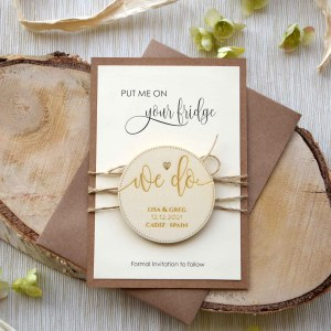 Wooden Wedding Save the Date Magnets