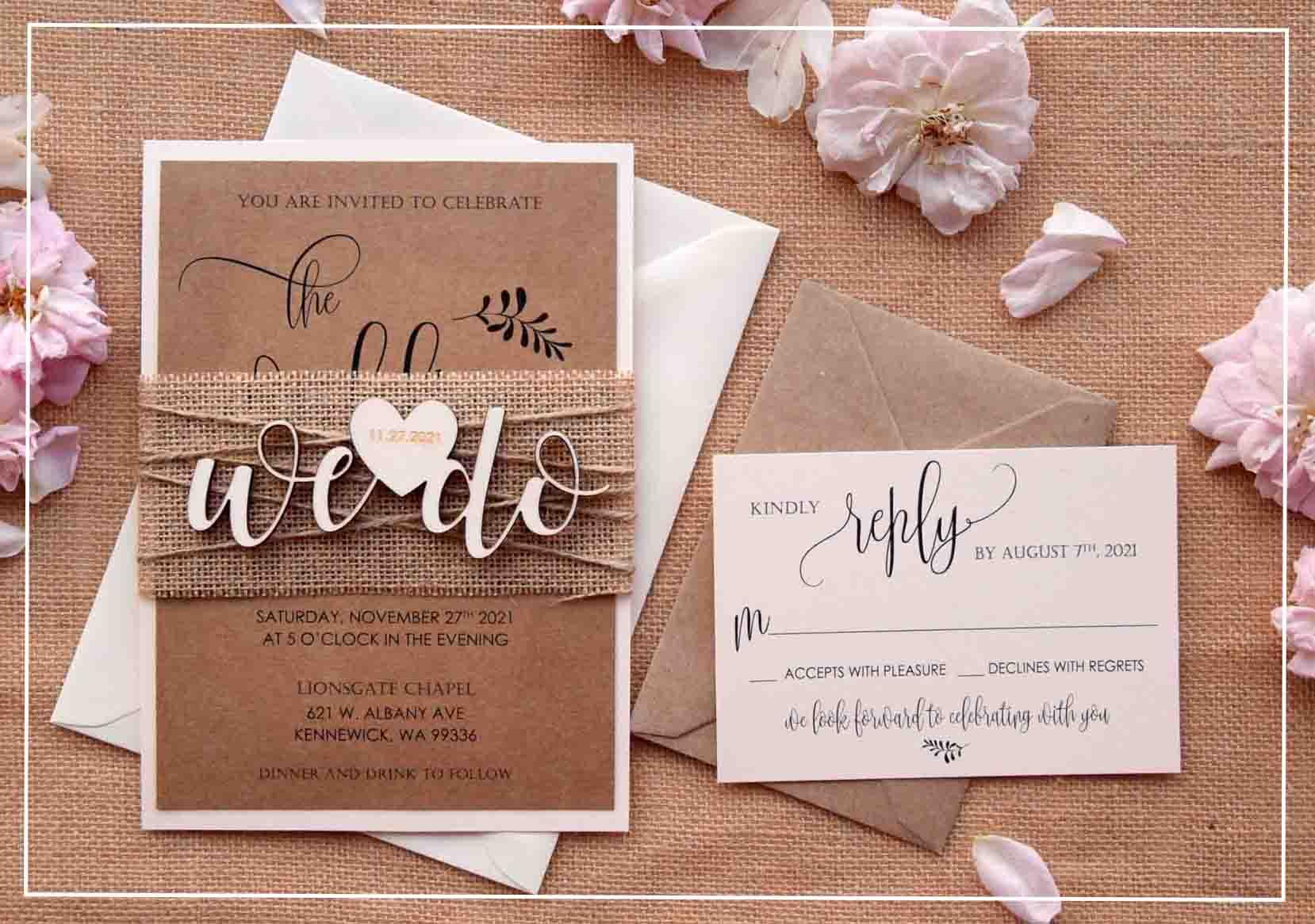Rustic We Do Wedding Invitations