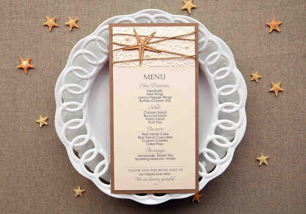 Starfish Wedding Dinner Menu