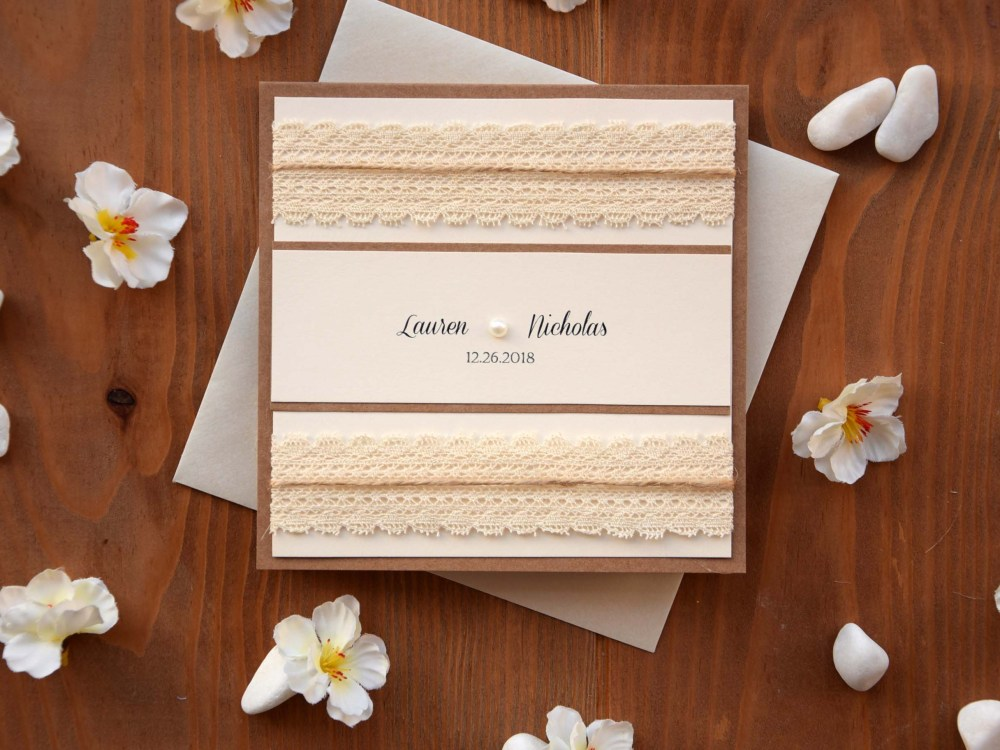 Rustic Pocket Wedding Invitation