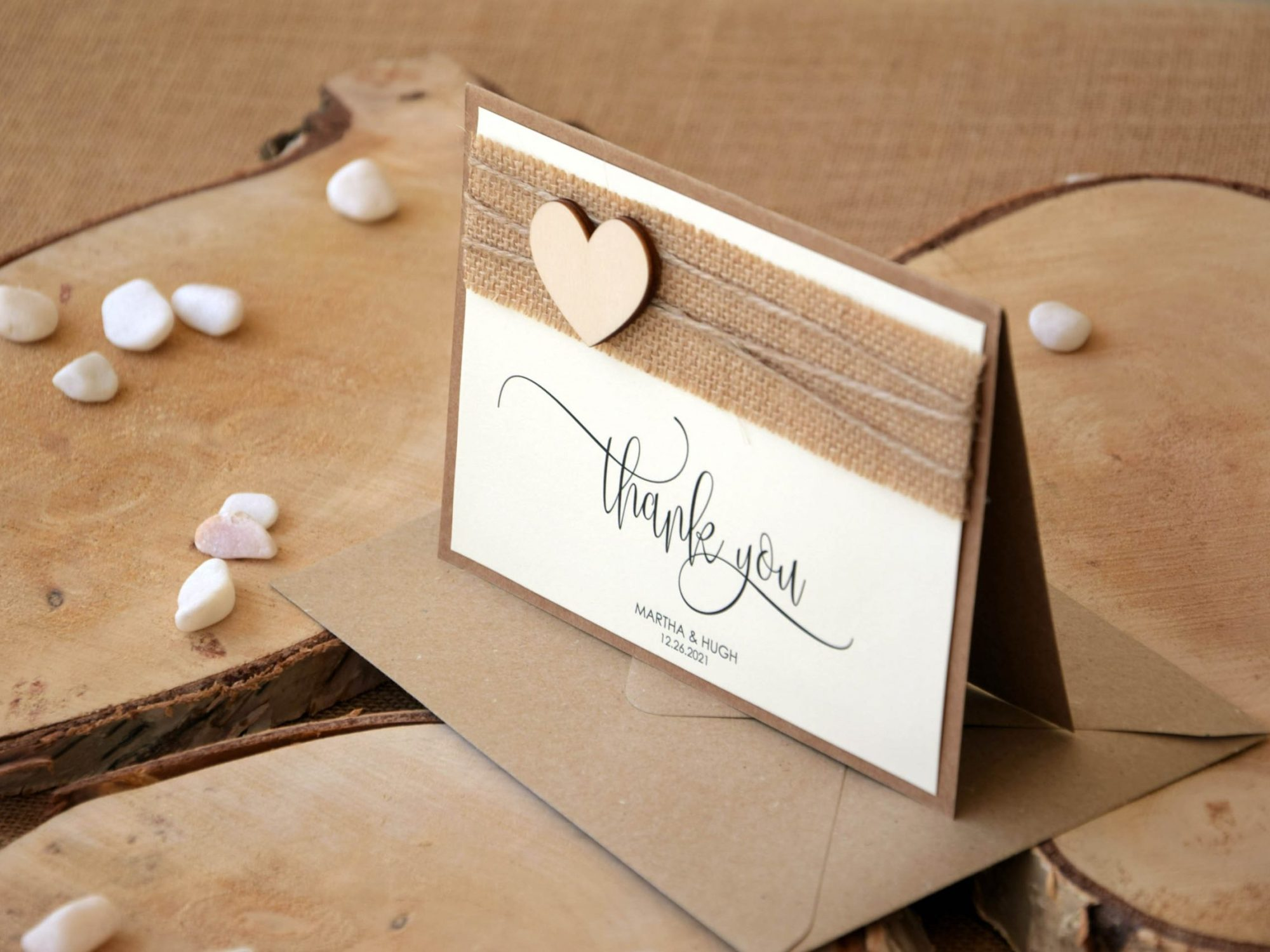 Heart Wedding Thank You Cards
