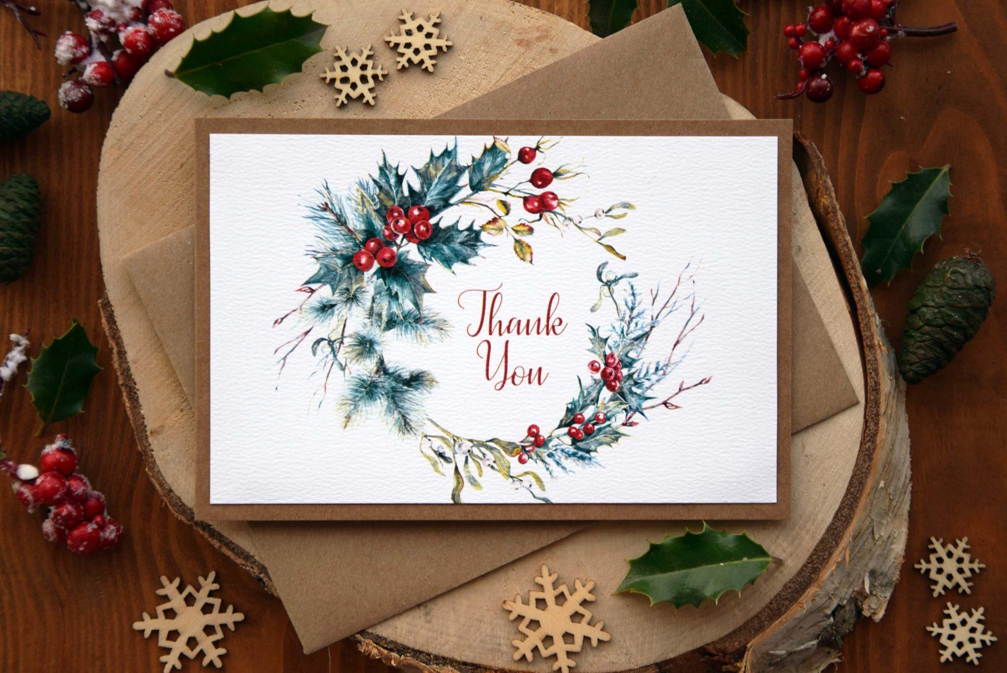 Christmas Wedding Thank You Card