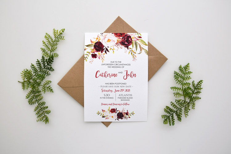 Floral Postponement Wedding Card