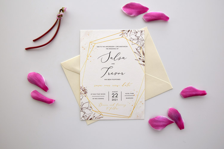 Geometric Gold Postpoce CardsGeometric Postponement Wedding Card