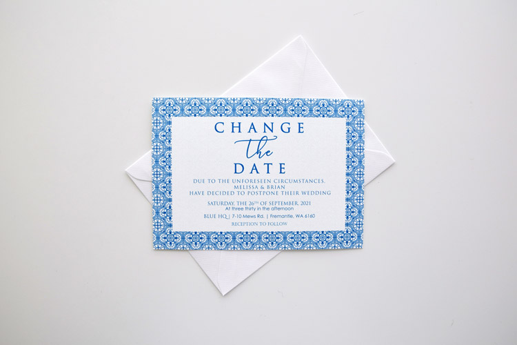 Tile Postponement Wedding Card