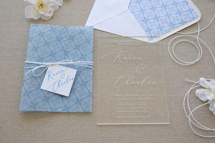 Acrylic Blue Tile Wedding Invitations