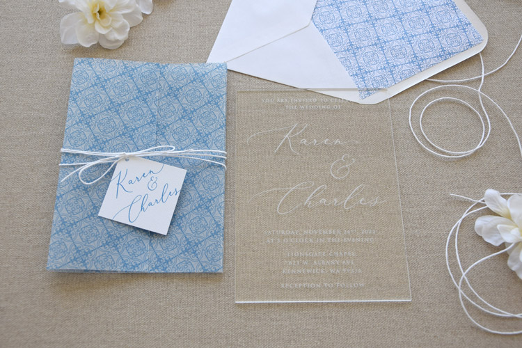 Acrylic Blue Tile Wedding Invitations