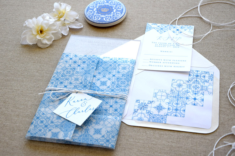 Clear Acrylic Tile Wedding Invitations