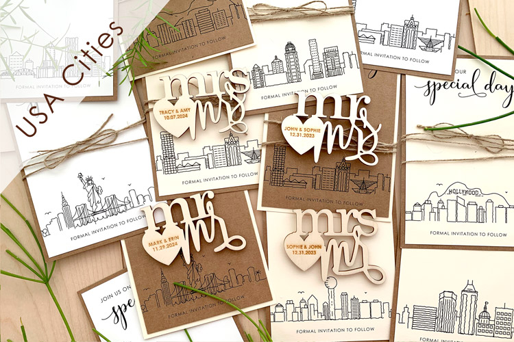 Skyline Wedding Magnet Save the Dates - US only