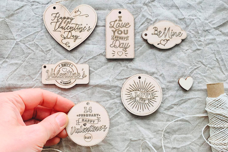 Laser-Cutting Wooden Valentine's Day Gift Tags - Pack of 6 tags