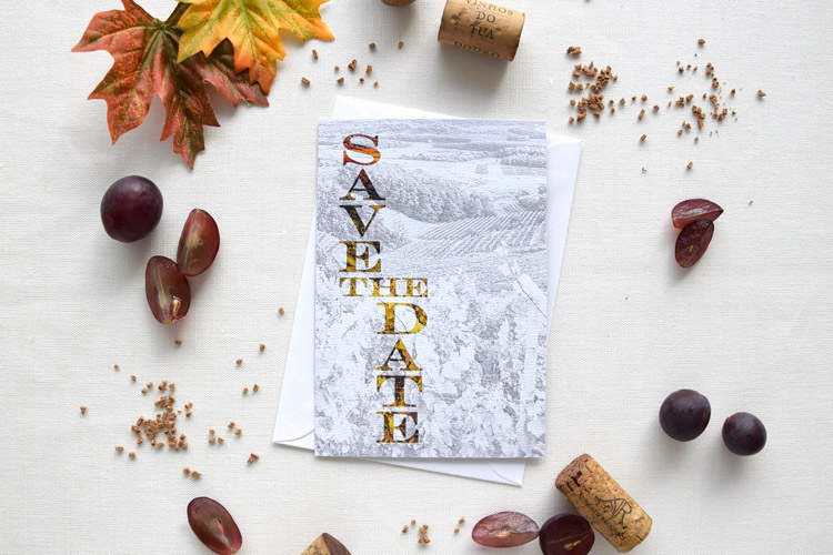 Rustic Fall Cork Winery Wedding Save the Date