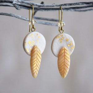 Dainty Dangle Golden Leaf Earrings