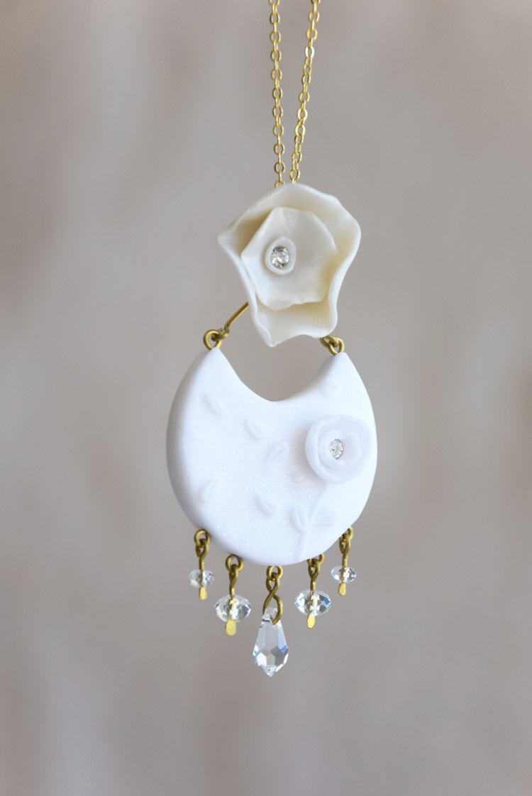 Floral Pendant With Dangling Swarovski Crystals