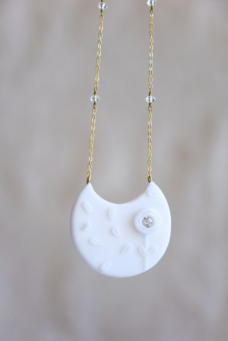 White Crescent Moon Floral Necklace