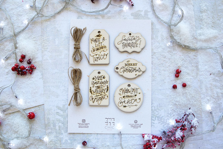 Funny Laser-Cutting Wooden Christmas Tags