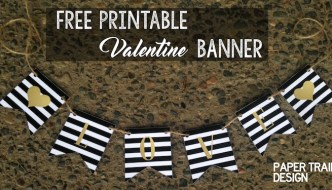 FREE Printable Banner: Valentine L-O-V-E and Hearts