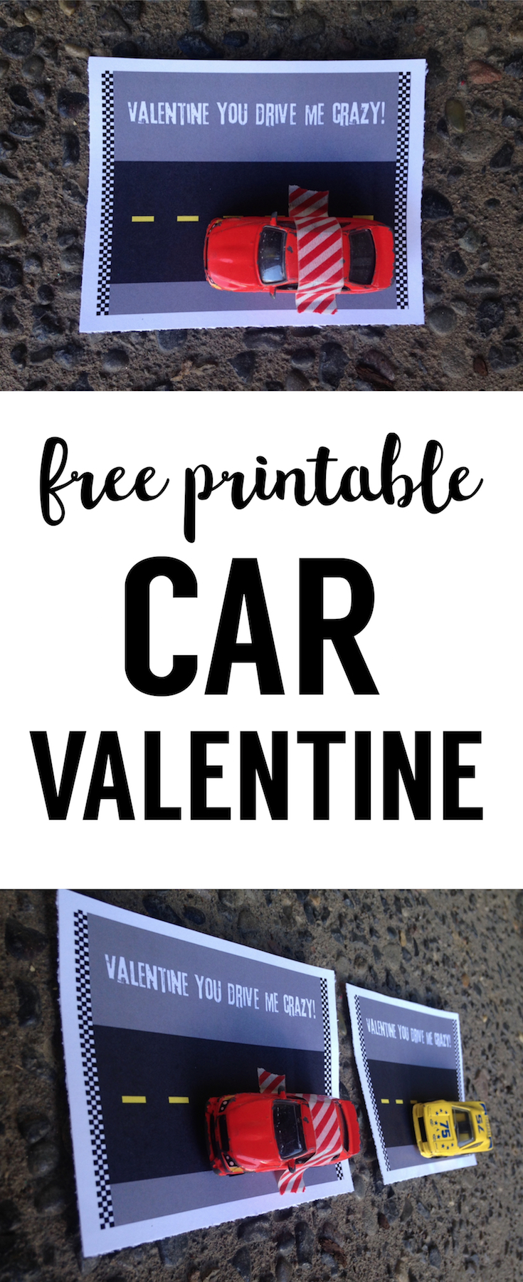 Free Printable Car Valentine Card. DIY no candy valentine is great for kids valentines at school valentine's day parties.