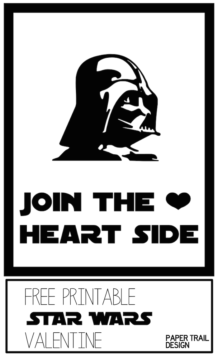 image relating to Printable Star Wars Valentines referred to as Darth Vader Valentine Printable Star Wars - Paper Path Style and design