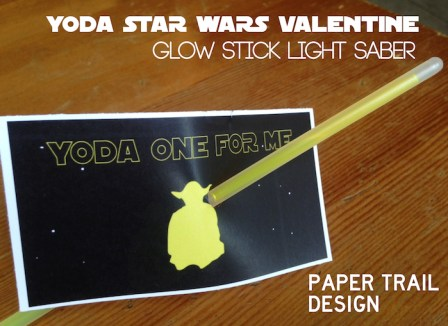 DIY Star Wars Valentine Printable. This free printable Yoda valentine is the perfect star wars printable valentine. Great glow stick valentine printable.