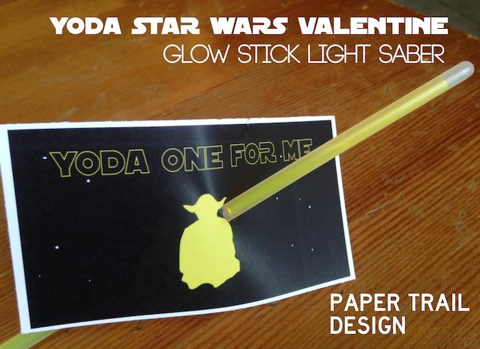 Star Wars Valentine Printable. This free printable Yoda valentine is the perfect star wars printable valentine. Great glow stick valentine printable.