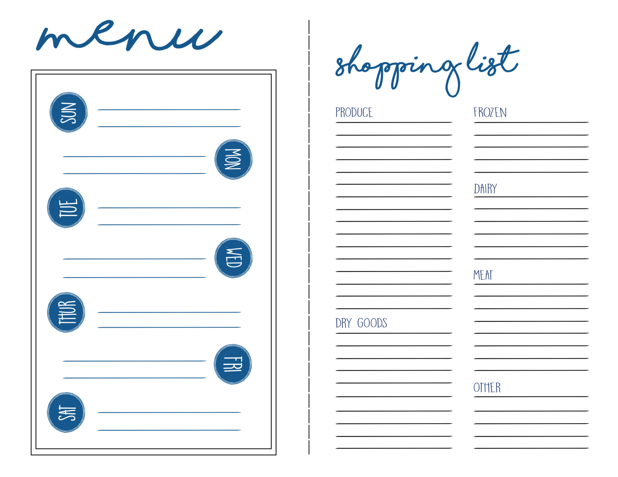 photograph about Menu Planning Printable called Menu Application + Searching Record Free of charge Printable - Paper Path Style and design