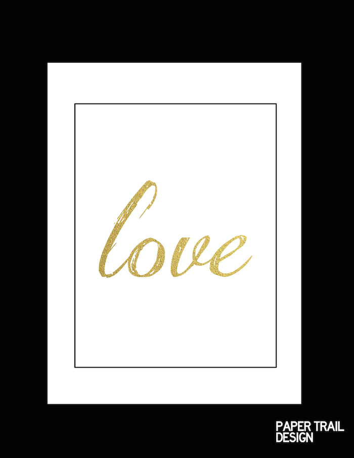 Free Printable Wall Art Black And Gold Love Paper Trail Design