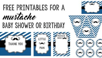 Mustache Baby Shower: Everything you need including invitations, banner, cupcake toppers, food labels, art decor, and thank you cards for your mustache party