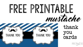 Mustache Thank You Cards Free Printable