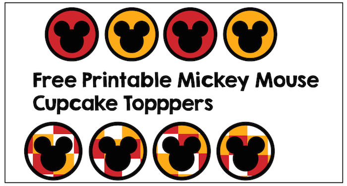Mickey Mouse Cupcake Toppers free printable. Print these Mickey Mouse cupcake toppers for your Disney birthday party. Just print and cut. So easy!