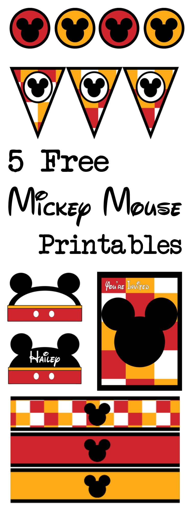 image regarding Give Me Five Poster Printable Free called 5 Mickey Mouse Cost-free Printables - Paper Path Style and design