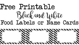 Black and White Food Labels or Name Cards