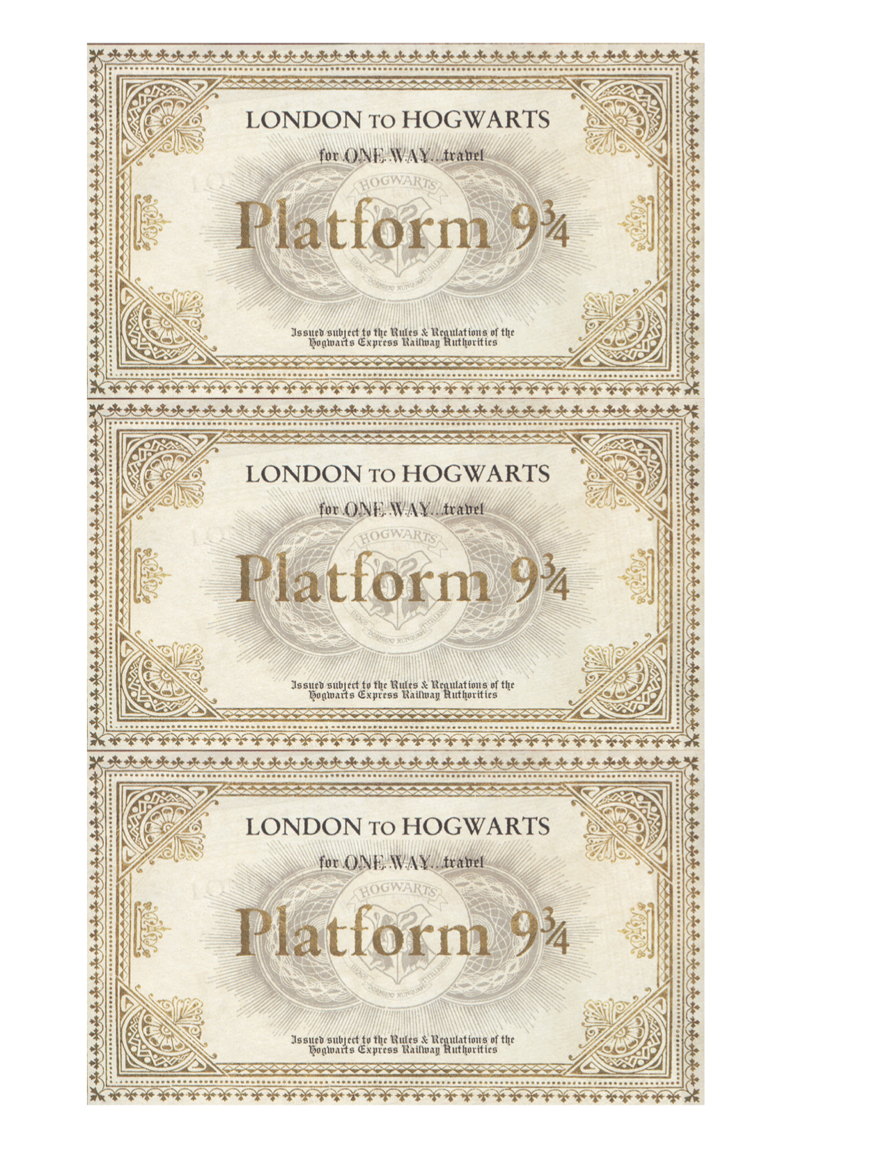 Harry potter hogwarts acceptance letter paper trail design print the platform 9 34 ticket here it looks really nice in full color with the gold but if you have parchment paper and print black and white it looks spiritdancerdesigns Gallery